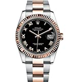 Rolex Datejust 36 Steel Rose Gold Watch Black Dial Oyster 116231