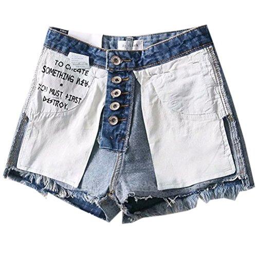 FuweiEncore Denim en Vintage Taille Haute Dechir Jeans Bleu Femme Shorts Mini fqf4wZPSW