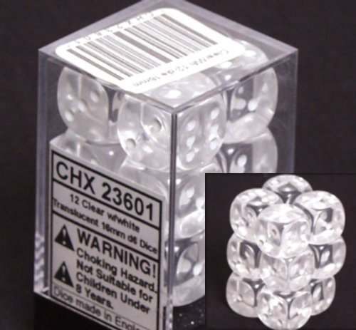 Chessex Dice d6 Sets: Clear with White Translucent - 16mm Six Sided Die (12) Block of Dice]()
