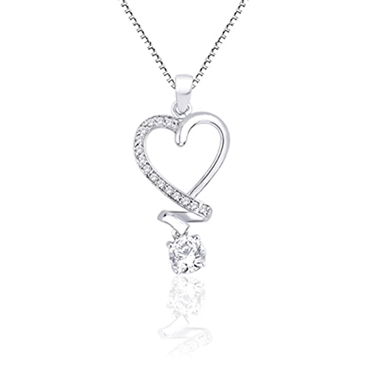 Peora Valentine Sterling Silver Cubic Zirconia Pendant PP2016 Pendants at amazon