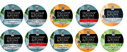 10 Cup Higgins & Burke TEA sampler- 7 original Teas- Peppermint, Chai English Breakfast & Green TEAS