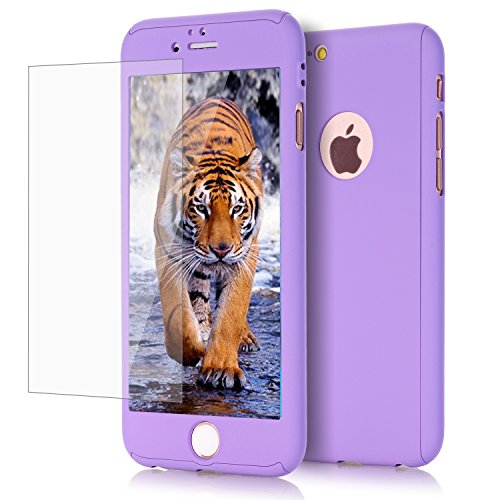 iPhone 6 Case, GPROVA Ultra Thin Full Body Coverage Protection Hard Slim iPhone 6 Case with [Tempered Glass Screen Protector] case for iPhone 6/6s(Purple) (Purple 4s Speck Case Iphone)