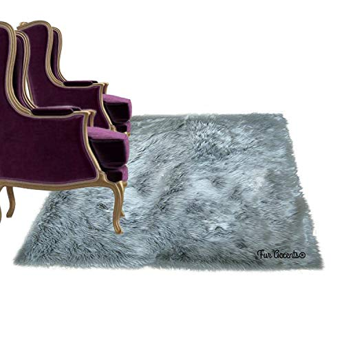 Shag Carpet - Extraordinary Faux Fur Rug - Accent - Area Rug - Throw Rug and Design - Hand Made in The USA (4'x4', Gray)