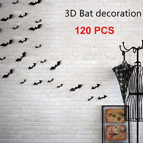 (LONGTEN 120 PCS DIY Halloween Party Supplies PVC 3D Decorative Scary Bats Wall Decal Wall Sticker Halloween Eve Decor Home Window Decoration Set)