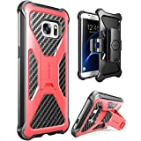i-Blason Galaxy S7 Edge Case, Prime [Kickstand] Samsung Galaxy S7 Edge 2016 Release [Heavy Duty] [Dual Layer] Combo Holster Cover case with [Locking Belt Swivel Clip] (Red)