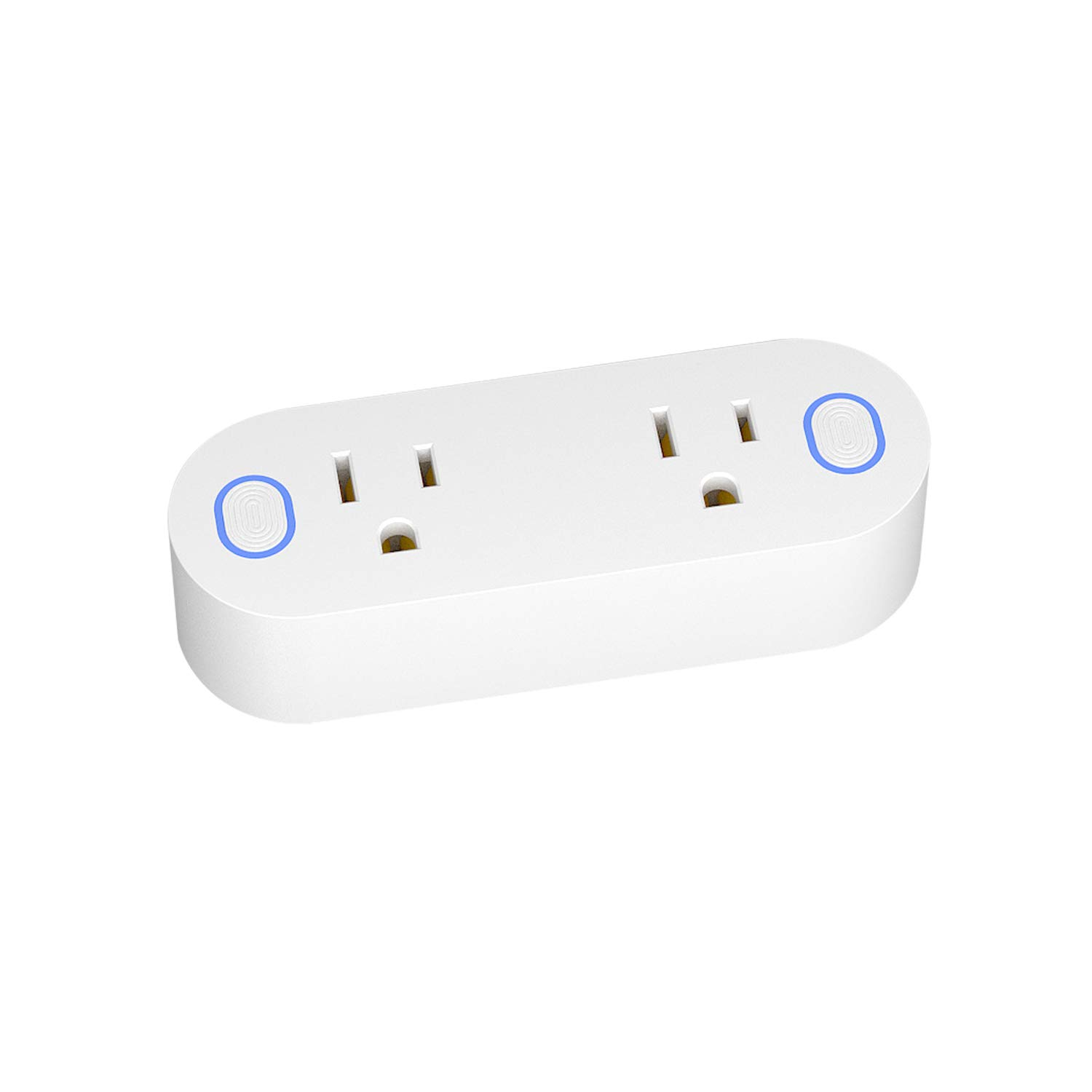 Mini Smart Wi-Fi Dual Outlet Plug with Energy Monitoring Function - Wireless Remote Controlled, No Hub Required, Compatible with Alexa Echo, Google Home Assistant and IFTTT, 16A 110-240V