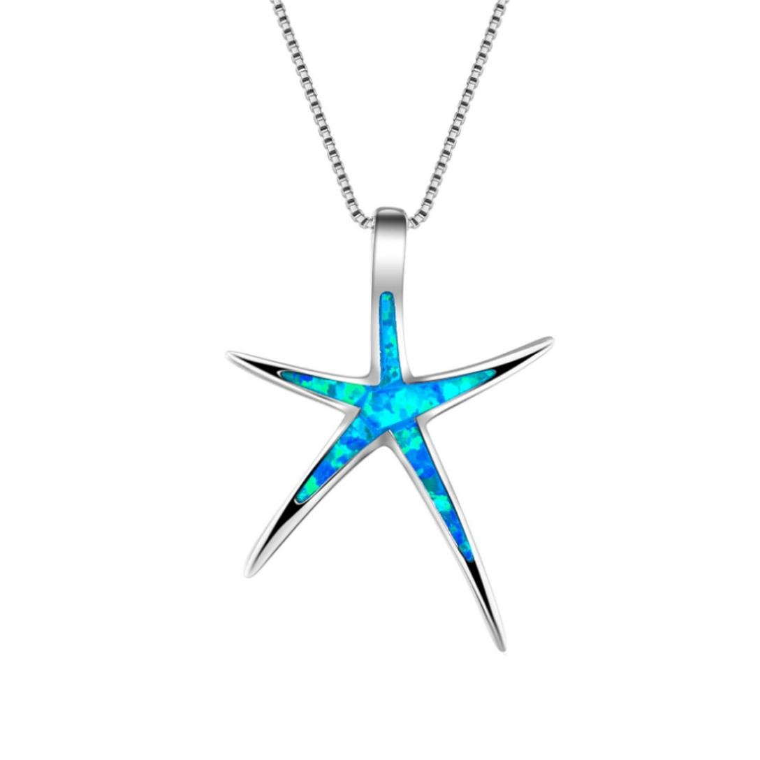 ManxiVoo Hot SalesWomen Sterling Silver Star Fish Pendant Necklace Sweater Necklace Jewelry Ornament (Blue)
