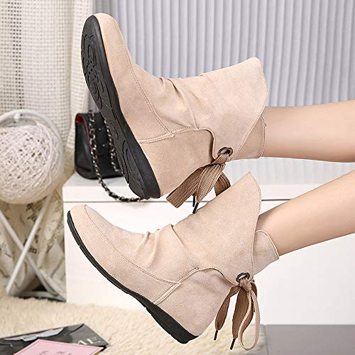 Lace Boots Martin Boots Roman Women Ladies Ankle Shoes OverDose Up Boot Ankle Suede Short Cheap Buckle Boots Beige 8nWxZdqw