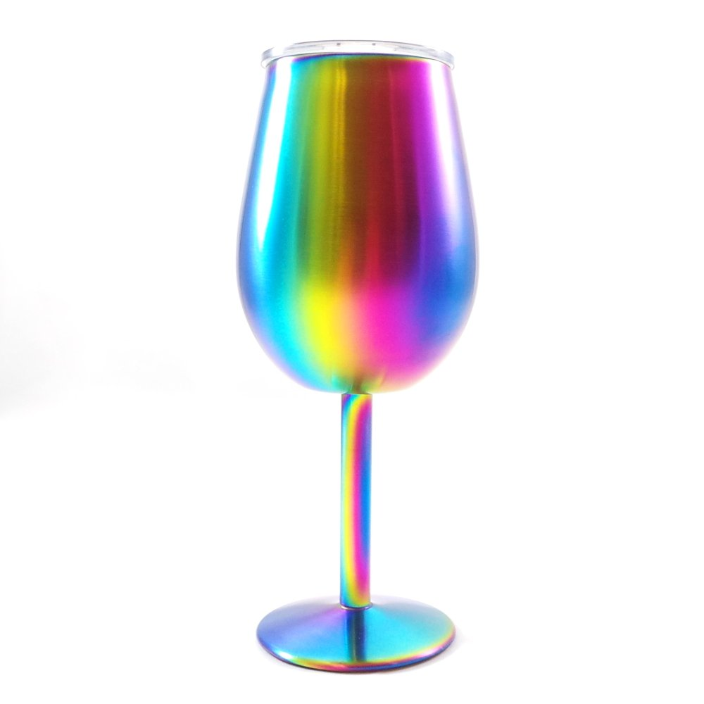 Shatterproof Stainless Steel Wine Glasses (Set of 4), Titanium Rainbow Colored Finish, Lids Included, Long Stemmed by Great Spirit Wares (Image #4)