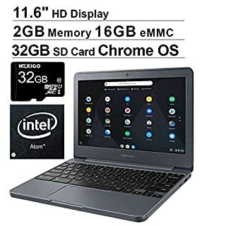 2020 Newest Samsung Chromebook 11.6 Inch Premium Laptop for Business Student| Intel Atom x5-E8000 up to 2.0GHz| 2GB LPDDR3 RAM| 16GB eMMC| WiFi| HDMI| Chrome OS + NexiGo 32GB MicroSD Bundle