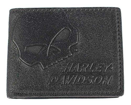 Harley-Davidson Men's Skull Graphite Leather Billfold w/Flip Out UN4627L-GRYBLK (Mens Harley Davidson Wallets)