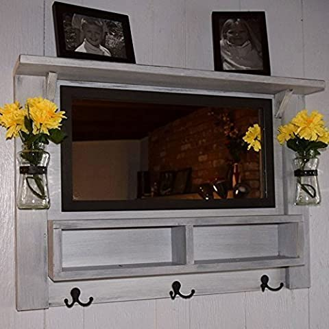 Large Entryway Mirror with top shelf, coat hooks, mail organizer and vases - Mirror Coat Hooks