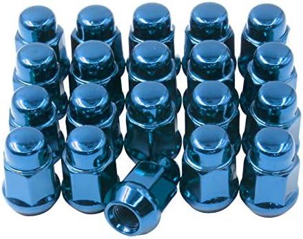20個セット ラグナット 1/2-20 スレッドクローズドエンドバルジ ドングリラグナット 長さ1.38インチ コーンシート 19mm (3/4インチ) 六角ホイールラグナット ブルー 871542BL_