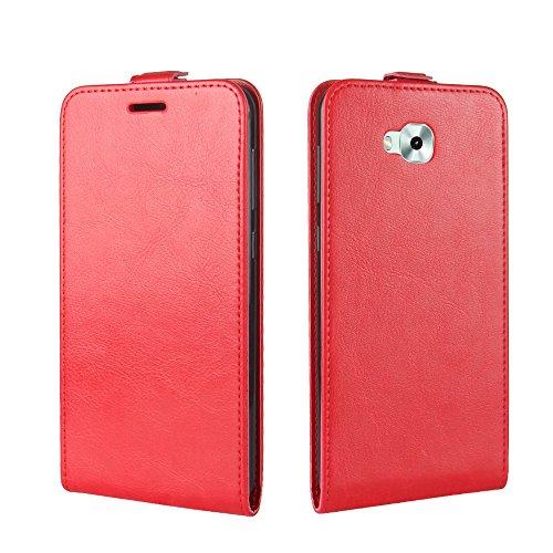 Para Asus Zenfone 4 Selfie ZD553KL Caso compacto de piel PU, arriba-abajo piel abierta PU Funda de piel con ranura para tarjeta y función de protección completa con cierre magnético Caja a prueba de g rojo