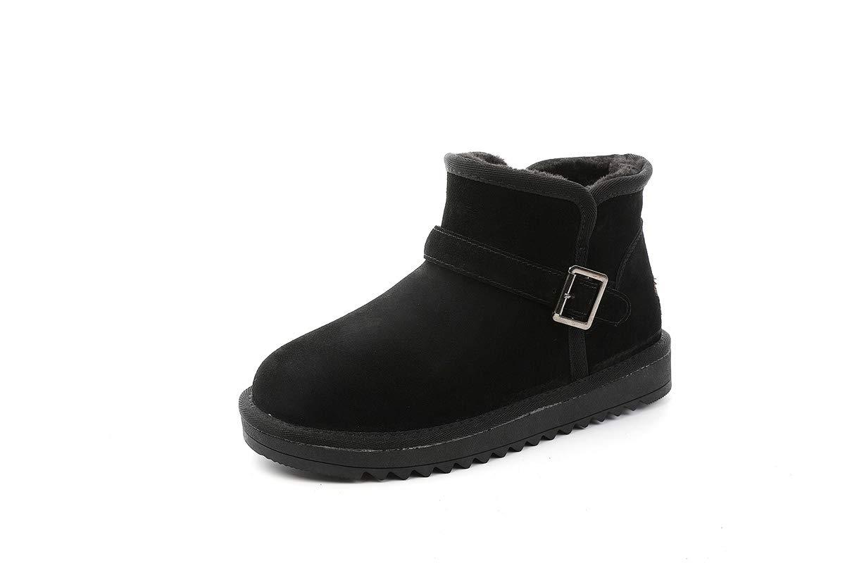 DANDANJIE Snow Stiefel Paar Winter Rutschfest Classic Mid-Calf Stiefel Flat Heel Slip-On Ankle Stiefel für Männer Frauen schwarz