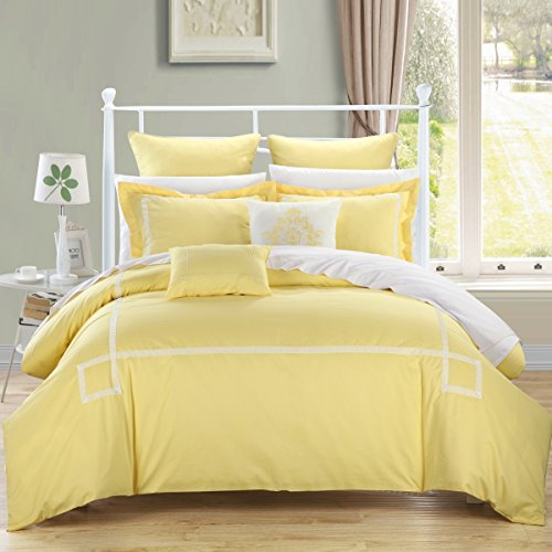 - Chic Home Woodford 7-Piece Embroidered Comforter Set, Queen, Yellow