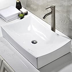 Ufaucet Modern Above Counter White Ceramic Bathroom Vessel Sink, Without Pop-up Drain