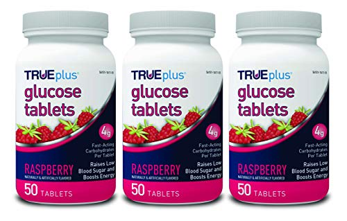 TRUEplus® Glucose Tablets, Raspberry Flavor - 50ct Bottle - 3 Pack