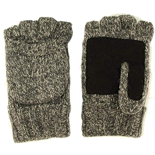 Men's Thinsulate 3M Thick Wool Knitted Half Mitten Suede Palm Gloves L/XL Gray (Winter Gloves For Men Mittens)