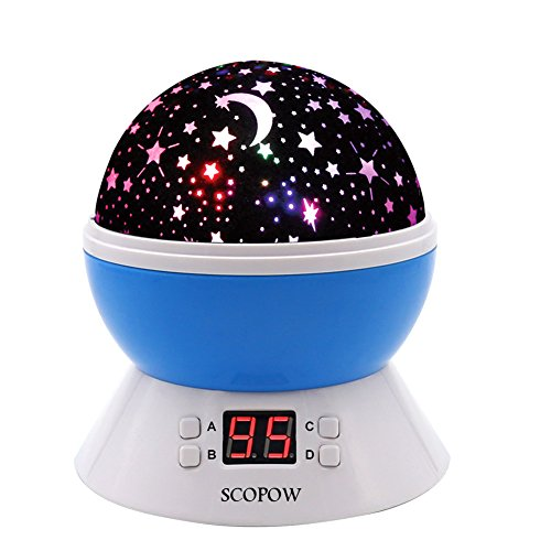SCOPOW Colorful Constellation Star Sky Kids Night Lamp with LED Timer, Auto-Shut Off and 360 Degree Rotation, Blue - Deco Wall Insert