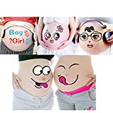 TAFLY Maternity Belly Stickers Facial Expressions Bump Pregnant Week Stickers 5 Sheets