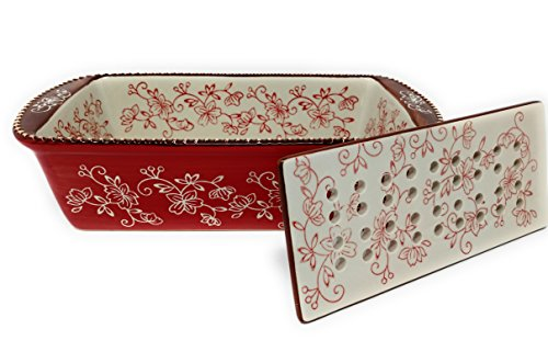 Temp-tations 1.75 Qt Loaf Pan with Ceramic Drip Tray for Meat Loafs (Floral Lace Red)