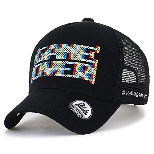 (ililily Game Over Embroidery Vintage Baseball Cap Meshback Trucker Hat, Black)