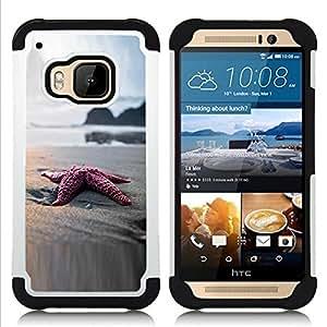 BullDog Case - FOR/HTC ONE M9 / - / Beach Star Sand Ocean Bokeh /- H??brido Heavy Duty caja del tel??fono protector din??mico - silicona suave