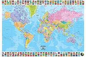 Amazon 1art1 set maps political world map in english poster 1art1 set maps political world map in english poster 36x25 inches gumiabroncs Choice Image