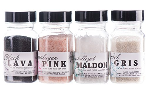 Finishing Sea Salt Collection - Sea Salt Variety 4 Pack | Himalayan Pink Sea Salt, French Grey Crystal Sea Salt, Black Lava Hawaiian Sea Salt, Maldon Crystallized Finishing Sea Salt (2oz Each)