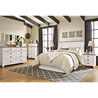 Willannet Casual Whitewash Color Wood Bed Room Set, Queen Panel Headboard, Dresser, Mirror And Nightstand