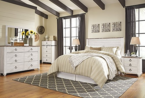 Willannet Casual Whitewash Color Wood Bed Room Set, Queen Panel Headboard, Dresser, Mirror And Nightstand (Mirror And Wood Nightstand)