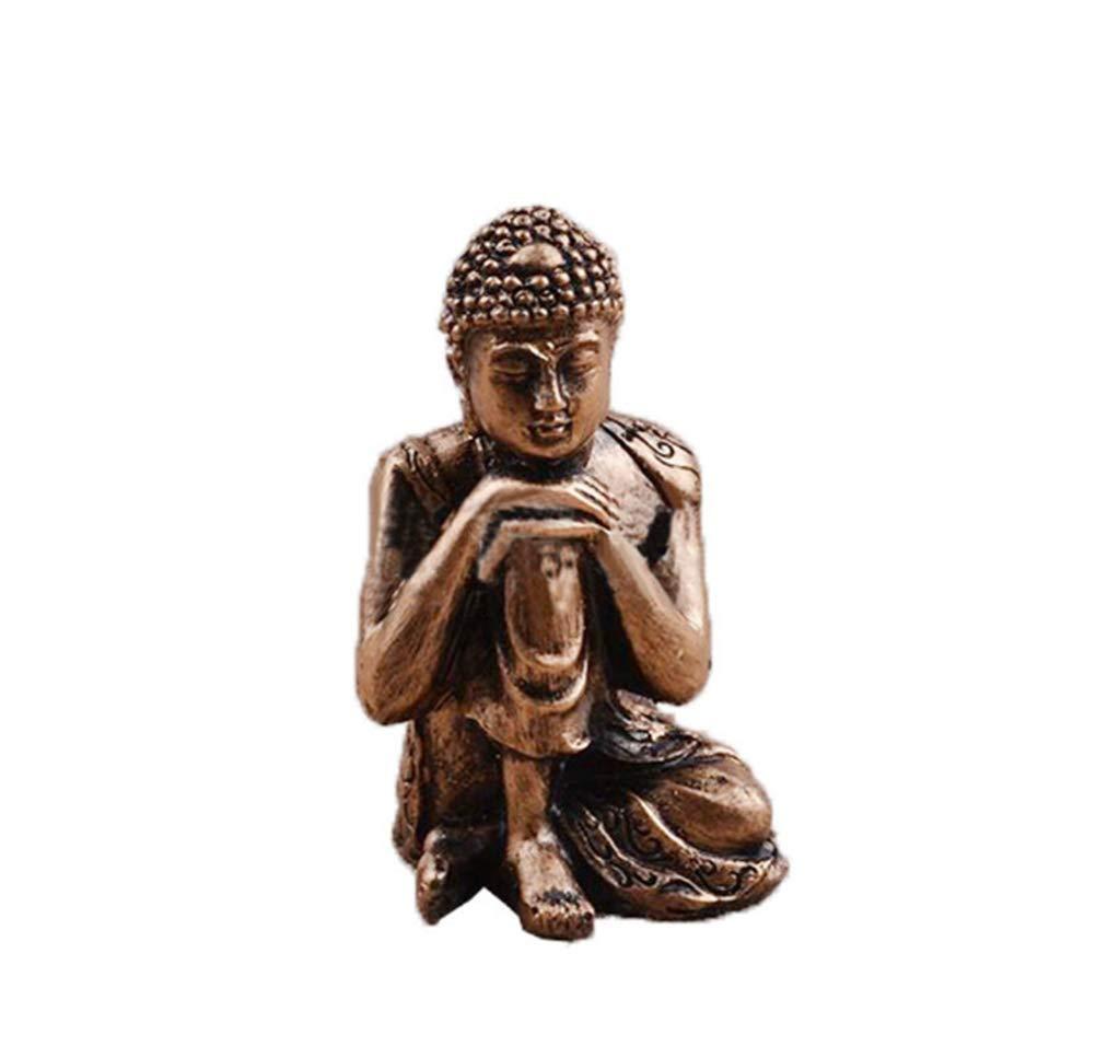 ASKJ Polyresin Buddha Statue Mini Sitting Zen Buddha Statue Retro Meditating Indoor Home Decor Outdoor Garden Ornament Statue (Gold Bronze)