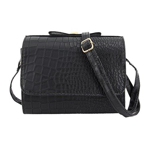 Naimo Bowknot Mini Bag Cross Body Bag Simple Shoulder Bag (Black) (Crossing Bag Purse)