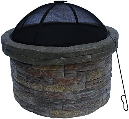 Peaktop HR22818AA Stone Wood Burning Fire Pit with Cover Outdoor Garden Round, 26.6 , Dark Gray