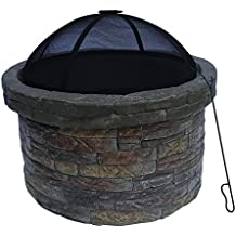 """Peaktop Outdoor Round Stone Fire Pit with Cover, 26.5"""" x 23"""""""