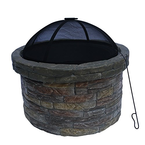 Peaktop Outdoor Round Stone Fire Pit with Cover, 26.5