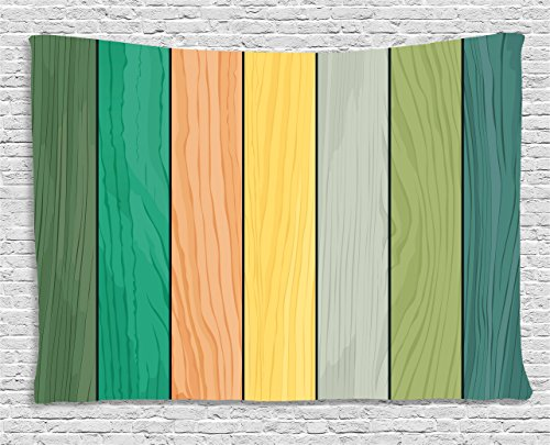 Ambesonne Colorful Tapestry by, Realistic Wood Texture Pattern on Colorful Stripes Timber Structure Detail Image, Wall Hanging for Bedroom Living Room Dorm, 60WX40L Inches, Multicolor (Best Realistic Texture Pack)