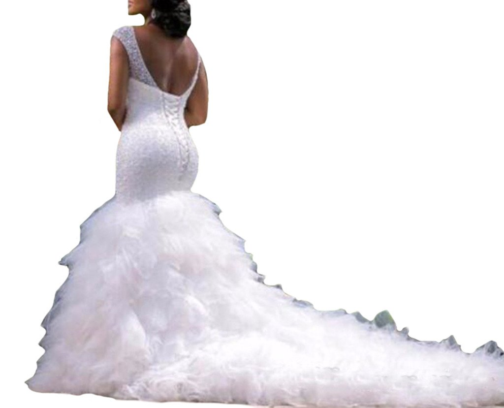Mermaid Wedding Gowns With Sleeves: Andybridal Mermaid Sweetheart Cap Sleeve Cathedral Train