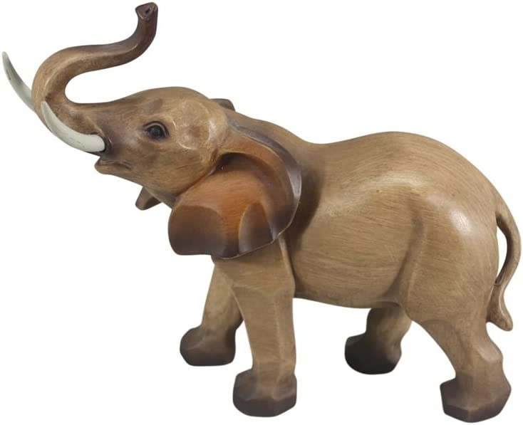 "Comfy Hour 8"" Decorative Polyresin Elephant Sculpture Elephant Figurine, Wood Grain Smooth Finish"