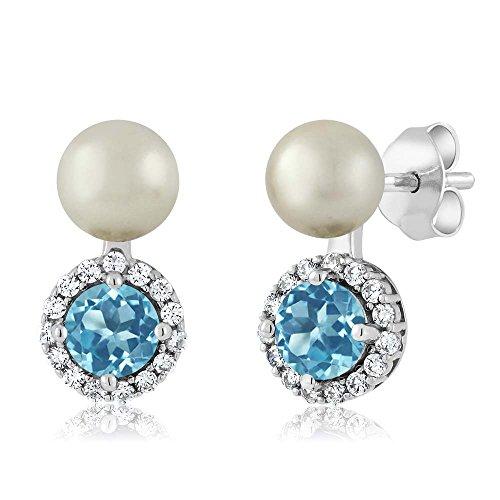 Gem Stone King 1.30 Ct Swiss Blue Topaz Cultured Freshwater Pearl 925 Sterling Silver Earrings