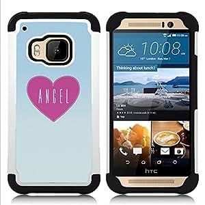 """HTC One M9 /M9s / One Hima - 3 en 1 impreso colorido de Altas Prestaciones PC Funda chaqueta Negro cubierta gel silicona suave (Pizza del corazón rosado del modelo del patrón Arte del texto"""")"""