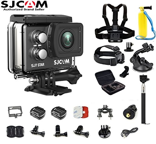 SJCAM SJ7 Star Kit {SJ7 Camera with Accessories, 6-in-1 Accessories} Real 4K Action Camera Wifi Waterproof Underwater Camera Ambarella Chipset 30FPS/Sony Sensor 12MP Gyro Stabilization-Black