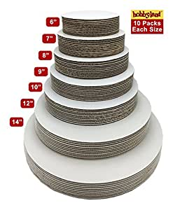 "Hobbyland Cake Boards White Circle (9"" Round, 10 Pack)"