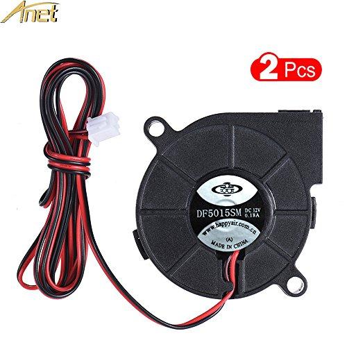 ANET 2pcs Cooling Blower Fan DC 12V 0.18A 50mm x 50mm x 15mm Hot End Extruder Fan for 3D Printer - Black 2PCS