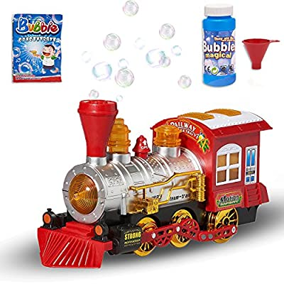 Prextex Steam Locomotive Engine Car Bubble Blowing Bump & Go Toy Train with Lights Sounds and Action Includes 5 Ounce Bottle of Bubble Solution and 2 Packets of Bubble Concentrate Fun for Kids: Toys & Games