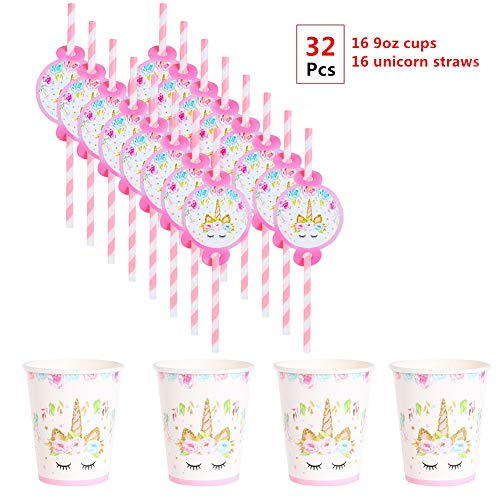 EXIJA Unicorn Party Cups and Straws Set,16 9oz Paper Cups+16 Unicorn Straws,Perfect Unicorn Party Supplies Birthday Party Favors for Girls]()