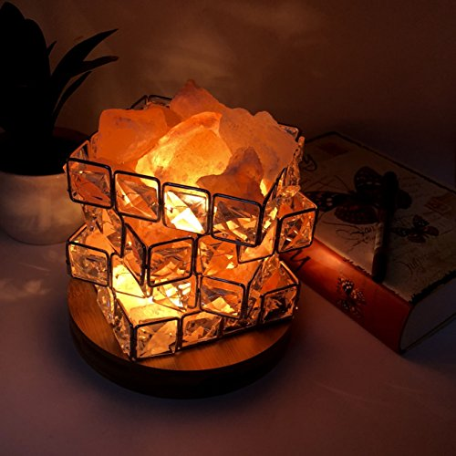 Maymii.Home Omonic Luxury Mosic Glass Crystal Basket Cube Fire Bowl Pink Himalayan Salt Lamp Crystal Chunks Table Desk Lamp Light Night Light Lights Touch Dimmer Switch Control with Bamboo Base by MAYMII·HOME (Image #1)