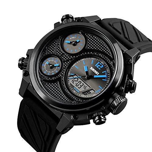 Caluxe Men Fashion Analog Digital Watch 5 Time Alarm Chrono EL Light Clock Life Waterproof Week Date Display Alarm Chrono Watch Instructions