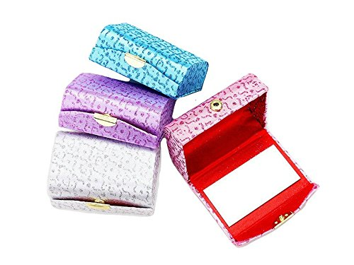 Glitter Patterned Double Lipstick Case w/Mirror (Purple)